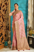 Load image into Gallery viewer, Lovely Cocktail Party Wear Silk Full Embroidered Hand Woven & Stone Work With Superb Saree