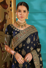 Load image into Gallery viewer, Challenging Navy Blue Silk Full Embroidered Hand Woven & Stone Work With Fancy Pallu Look Saree