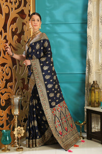 Challenging Navy Blue Silk Full Embroidered Hand Woven & Stone Work With Fancy Pallu Look Saree