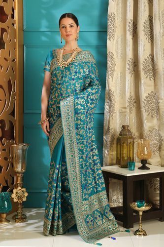 Amaze Teal Color Silk Full Embroidered Hand Woven & Stone Work With Awesome Lace Border Designer Saree