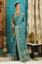 Load image into Gallery viewer, Amaze Teal Color Silk Full Embroidered Hand Woven & Stone Work With Awesome Lace Border Designer Saree