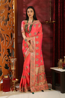 Crowning Pink Silk Full Embroidered Hand Woven & Stone Work With Stylist Pallu Look Saree