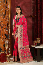 Load image into Gallery viewer, Beauteous Magenta Silk Full Embroidered Hand Woven & Stone Work With Different Pallu Look Saree