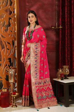 Beauteous Magenta Silk Full Embroidered Hand Woven & Stone Work With Different Pallu Look Saree