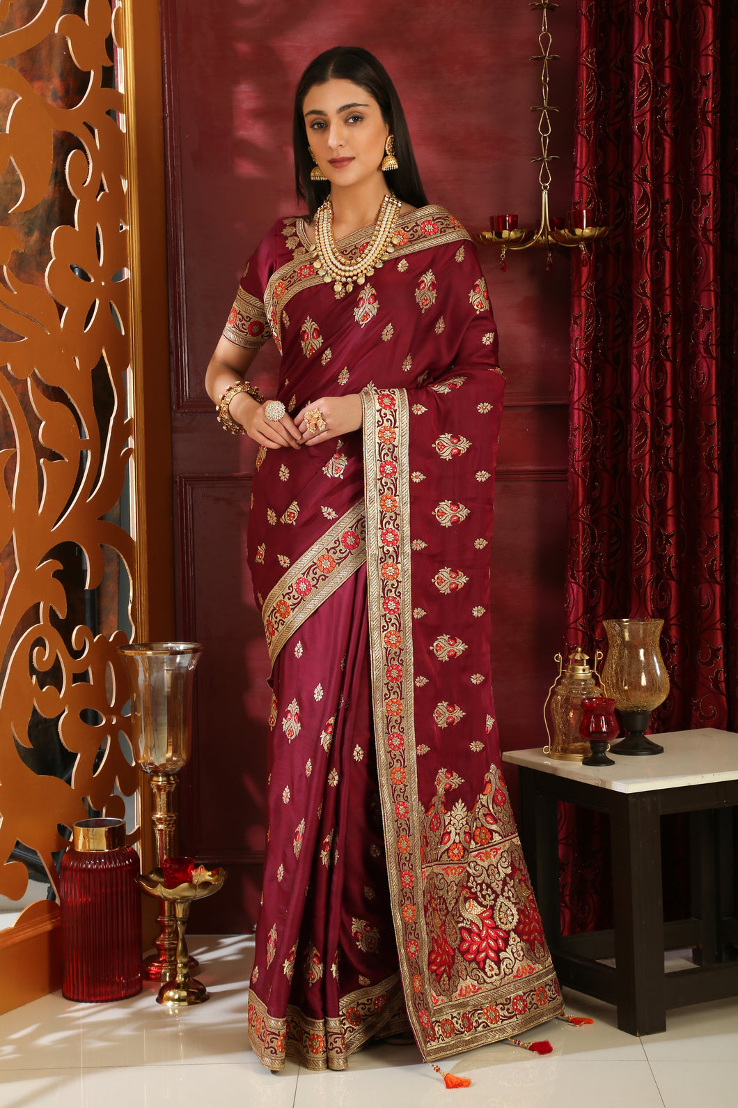 Self-Sufficient Wine Silk Full Embroidered Hand Woven & Stone Work With Unique Pallu Look Saree