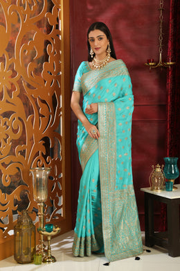 Personalize Turquoise Silk Full Embroidered Hand Woven & Stone Work With Modest Pallu Look Saree