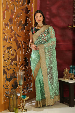 Inconceivable Mint Green Organza Full Embroidered & Stone Work With Lace Border Designer Saree