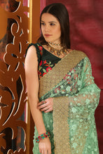 Load image into Gallery viewer, Inconceivable Mint Green Organza Full Embroidered & Stone Work With Lace Border Designer Saree