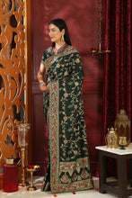 Load image into Gallery viewer, Phenomenal Dark Green Silk Full Embroidered & Stone Work With Sensible Lace Border Designer Saree