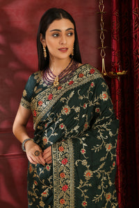 Phenomenal Dark Green Silk Full Embroidered & Stone Work With Sensible Lace Border Designer Saree
