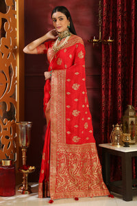 Preternatural Red Silk Full Embroidered Hand Woven & Stone Work With Satisfied Hot Pallu Look Saree