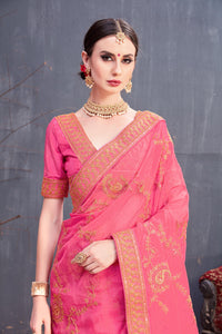 Winsome Beloved Pink Organza Coding Sequence & Embroidered Work With Genial Saree