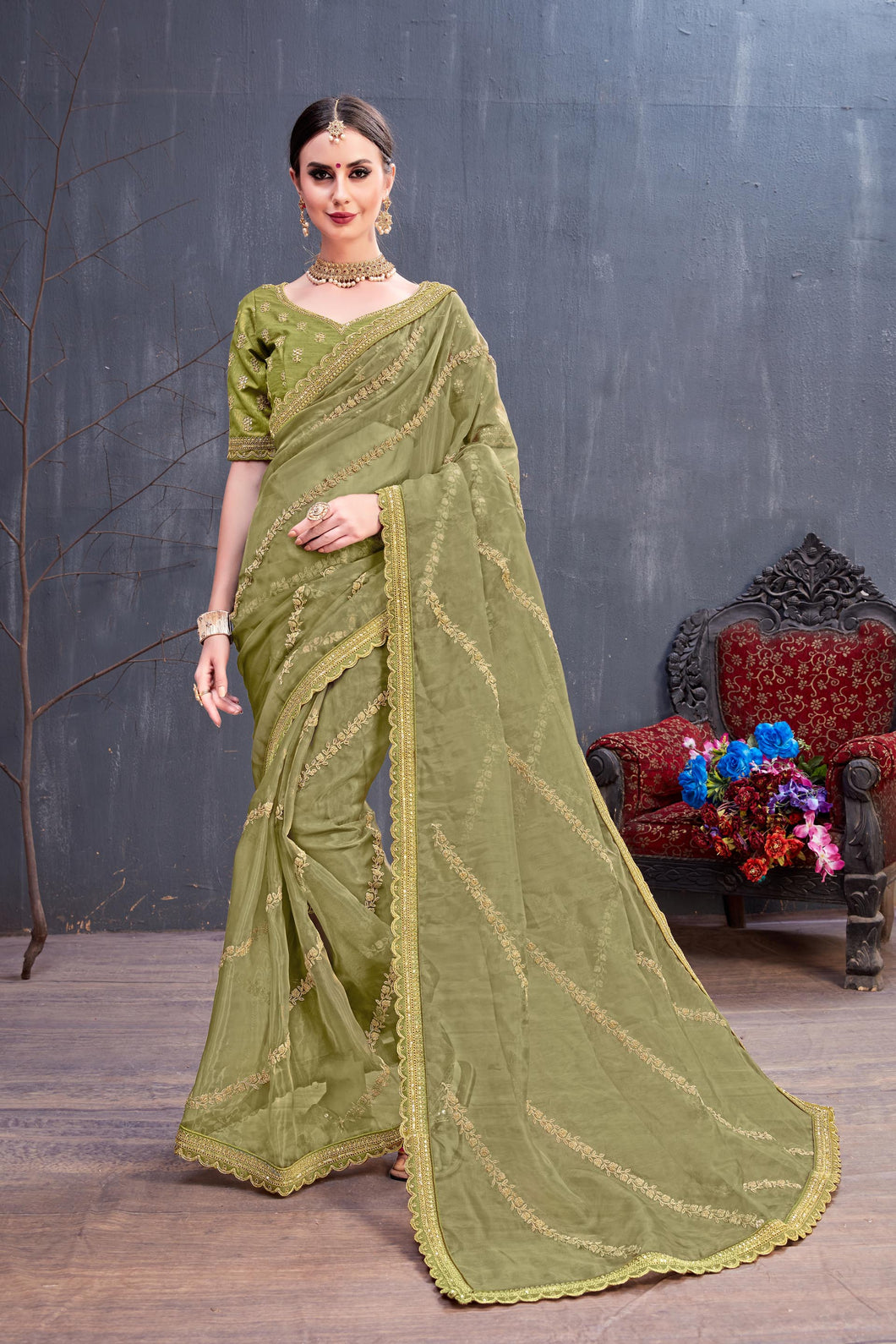 Intoxicate Nice Olive Organza Coding Sequence & Embroidered Work With Charming Saree