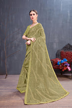 Load image into Gallery viewer, Intoxicate Nice Olive Organza Coding Sequence & Embroidered Work With Charming Saree