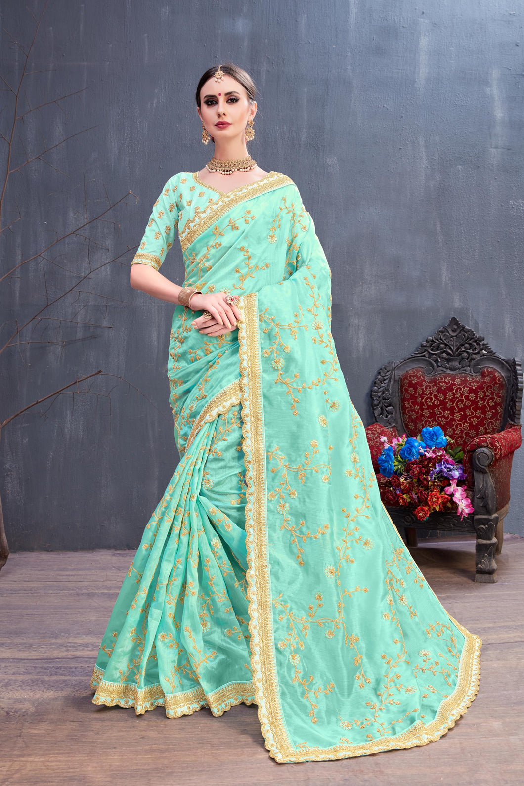 Good Tempered Turquoise Organza Coding Sequence & Embroidered Work With Inviting Saree
