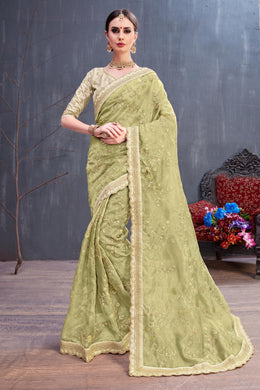 Entertaining Olive Organza Coding Sequence & Embroidered Work With Favored Saree