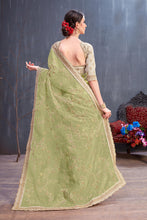 Load image into Gallery viewer, Entertaining Olive Organza Coding Sequence & Embroidered Work With Favored Saree