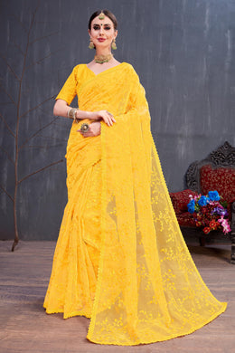 Sweet Heart Lovesome Yellow Organza Resham Embroidered Work With Friendly Saree