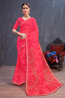 Rapturous Joyous Red Organza Resham Embroidered Work With Sweet Look Saree