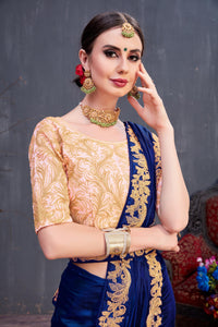 Miraculous Fine Look Navy Blue Silk Coding & Embroidered Lace Work With Genial Saree