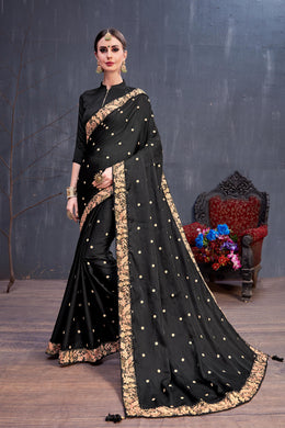 Wonderful Dreamy Black Silk Sequence Resham Embroidered Work With Cocktail Saree