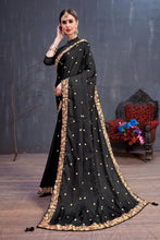Load image into Gallery viewer, Wonderful Dreamy Black Silk Sequence Resham Embroidered Work With Cocktail Saree