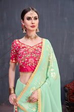 Load image into Gallery viewer, Remarkable Mint Green Georgette Rubber Foil & Fancy Lace Work With Amazing Saree
