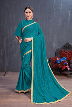 Load image into Gallery viewer, Teal Blue Soft Cotton Resham Embroidered Work With Groovy Saree