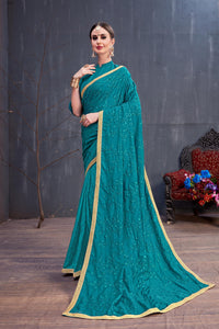 Teal Blue Soft Cotton Resham Embroidered Work With Groovy Saree