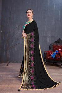 Ultramodern Radiant Black Georgette Rubber Foil & Fancy Lace Work With Cozy Saree