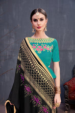 Load image into Gallery viewer, Ultramodern Radiant Black Georgette Rubber Foil & Fancy Lace Work With Cozy Saree