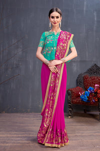 Glamorous Likable Dark Pink Georgette Rubber Foil & Fancy Lace Work With New Delicate Saree