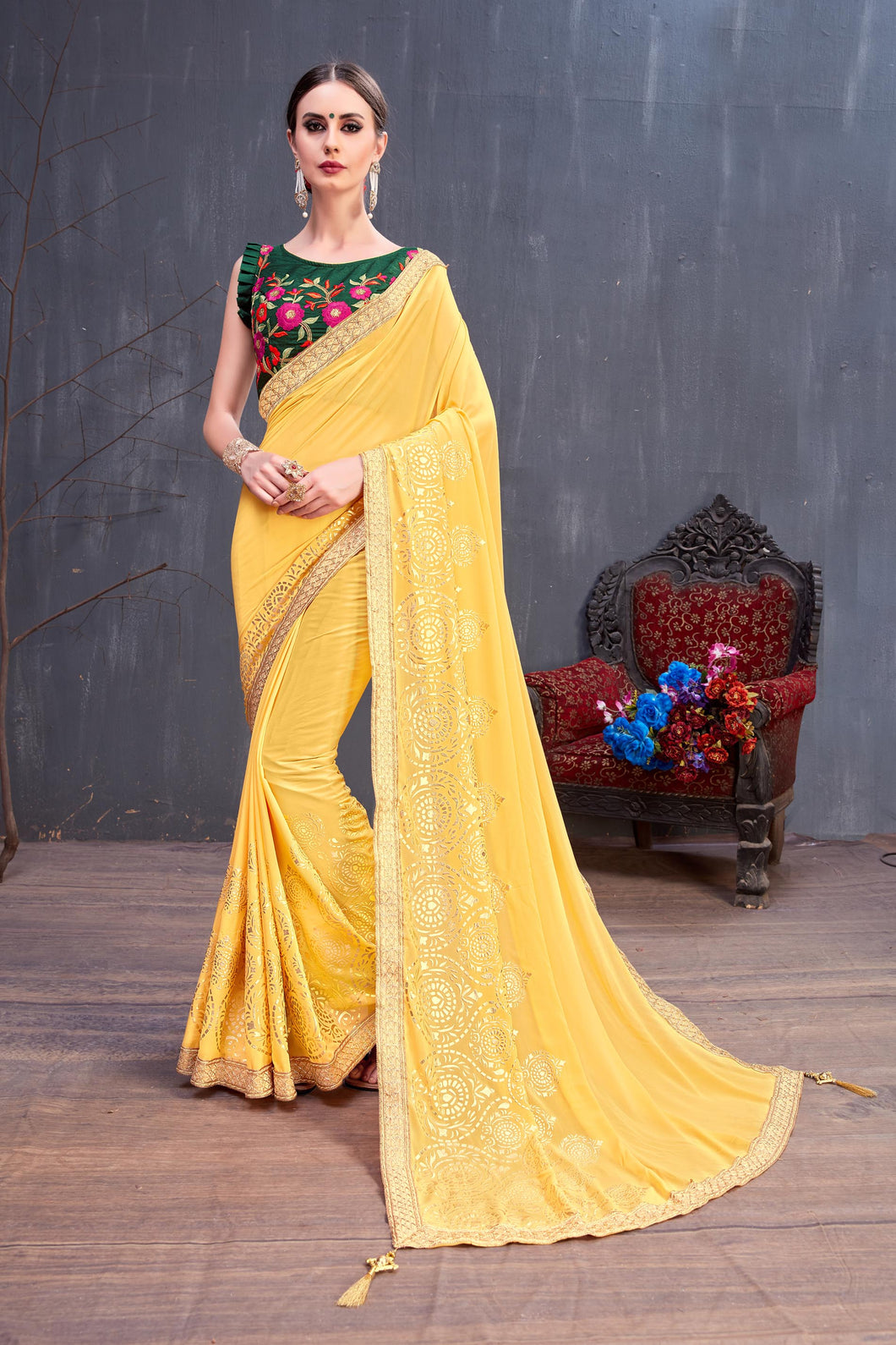 Handsome Lovely Yellow Georgette Rubber Foil & Fancy Lace Work With Gorgeous Saree