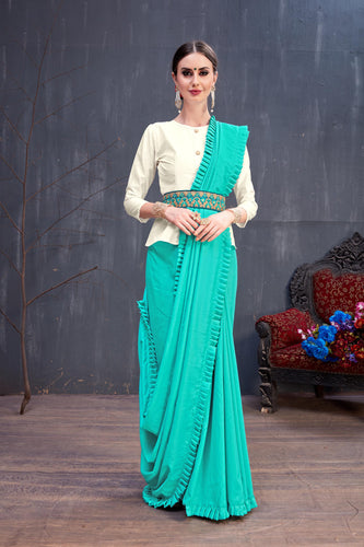 Gratifying Dulcet Sky Blue Soft Cotton Plain Kangari Lace Design Work With Beautiful Saree
