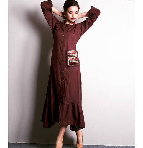 Expressive Titillating Chocolate Brown Pure Slub Cotton Printed Ruffle Designing Western Tunics
