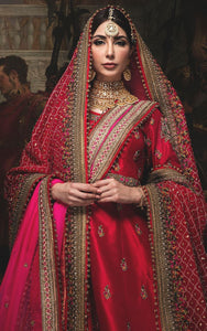 Gratifying Trendsetting Bridal Red Art Silk Heavy Embroidery Work With Jordan Lehenga Choli