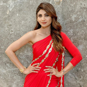Deletable Radiant Shilpa Shetty Red Fancy Smooth Georgette Embellished Work With Modest Saree