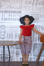 Load image into Gallery viewer, Swadeshi Khadi Chex Ikat Work With Kids Wear Pocket Style Cowl Pant And Offshoulder Short Top Pair