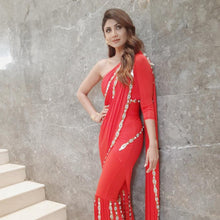 Load image into Gallery viewer, Deletable Radiant Shilpa Shetty Red Fancy Smooth Georgette Embellished Work With Modest Saree