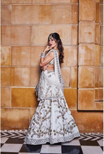 Load image into Gallery viewer, Jacqueline Fernandez White Banglori Satin & Net Embroidery Work With High-waisted Lehenga Choli