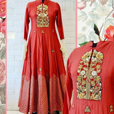 Ultramodern Hottest Red Heavy Georgette Hand Embroidered Work With Decorative Long Anarkali Suit