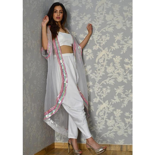 Superlative Flouncy White Plain & Sequence Work With Modest Western Type Stylish Dhoti Suit
