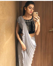 Load image into Gallery viewer, Irresistble Enigmatic Stone Grey Faux Georgette Ruffle Moti Hand Work With Superlative Saree