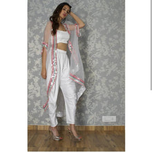 Load image into Gallery viewer, Superlative Flouncy White Plain & Sequence Work With Modest Western Type Stylish Dhoti Suit