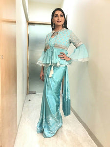 Honourable Madhuri Dixit Turquoise Blue Sana Silk Fancy Work With Tiptop Saree