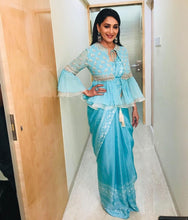 Load image into Gallery viewer, Honourable Madhuri Dixit Turquoise Blue Sana Silk Fancy Work With Tiptop Saree