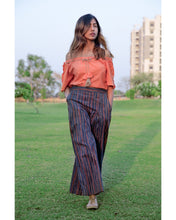 Load image into Gallery viewer, Peach Off Shoulder Top With Lining Linen Pant