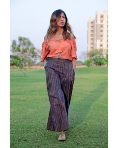Peach Off Shoulder Top With Lining Linen Pant