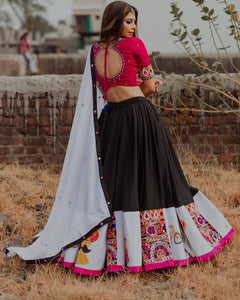 Latest Festive Collection Black Butter Silk Digital Print & Real Mirror Work Solid Lahenga Choli
