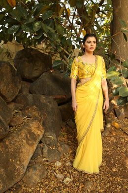 Integrative Hottest Yellow Heavy Georgette Hand Work With Ethical Saree